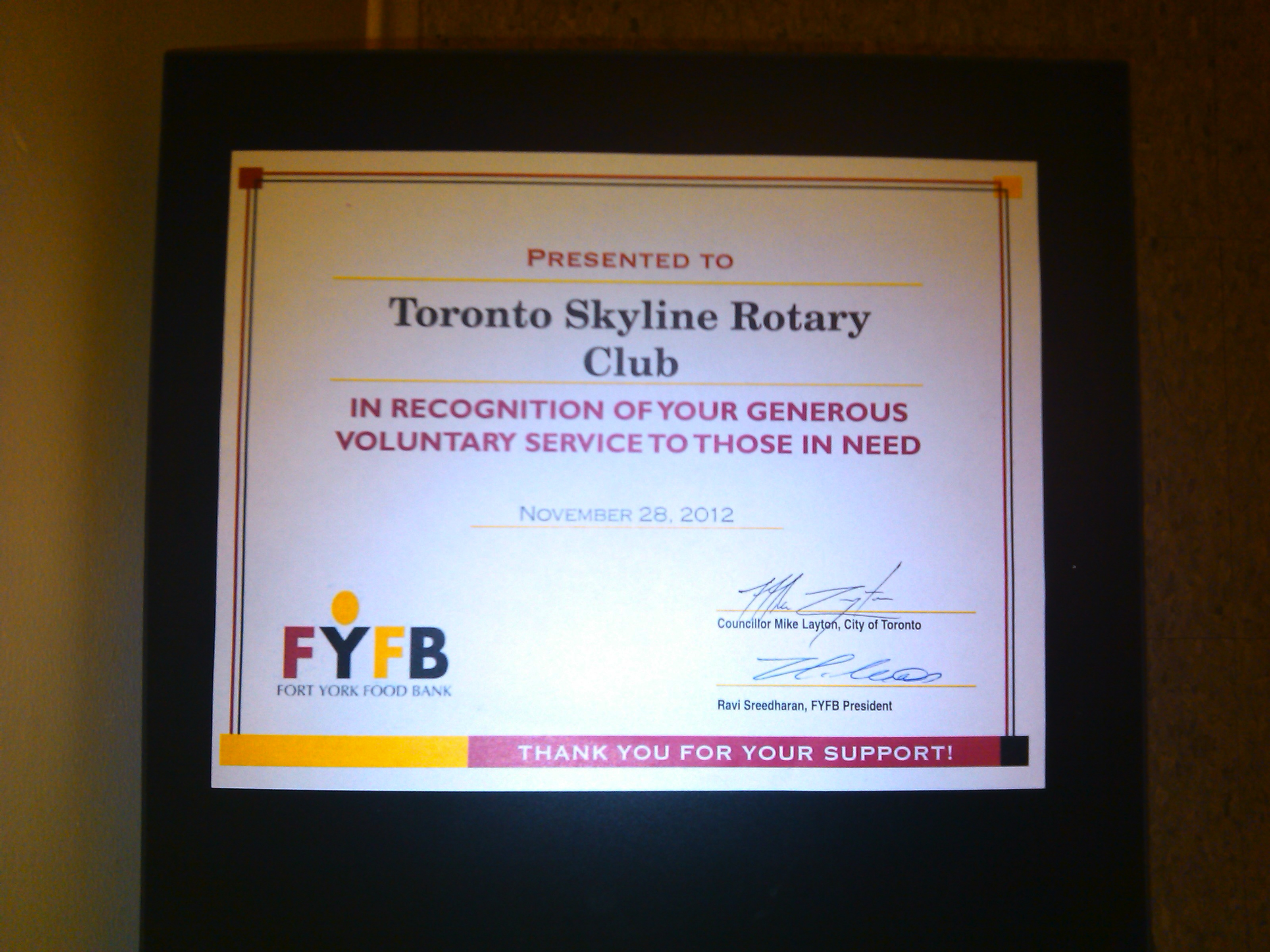 Fort york food bank certificate rotary club of toronto skyline 3200 2400 pixels fort york food bank certificate xflitez Gallery