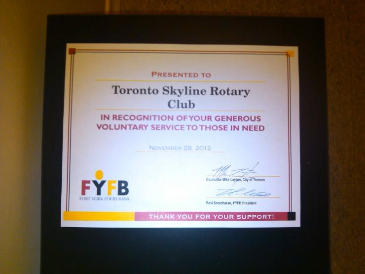 Fort York Food Bank Certificate