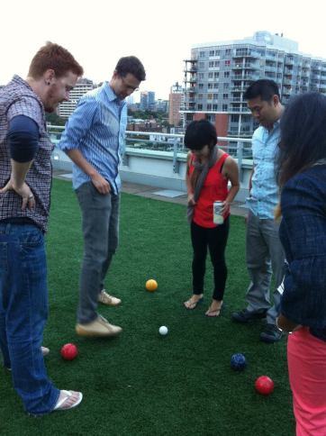 Intense Bocce strategy from the second annual RCTS Bocce Tournament.