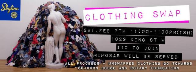 RCTS Clothing Swap, Saturday February 7th, 11 am at King and Shaw.